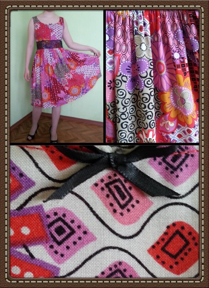 Handmade women dress, Tank dress with gathered skirt
