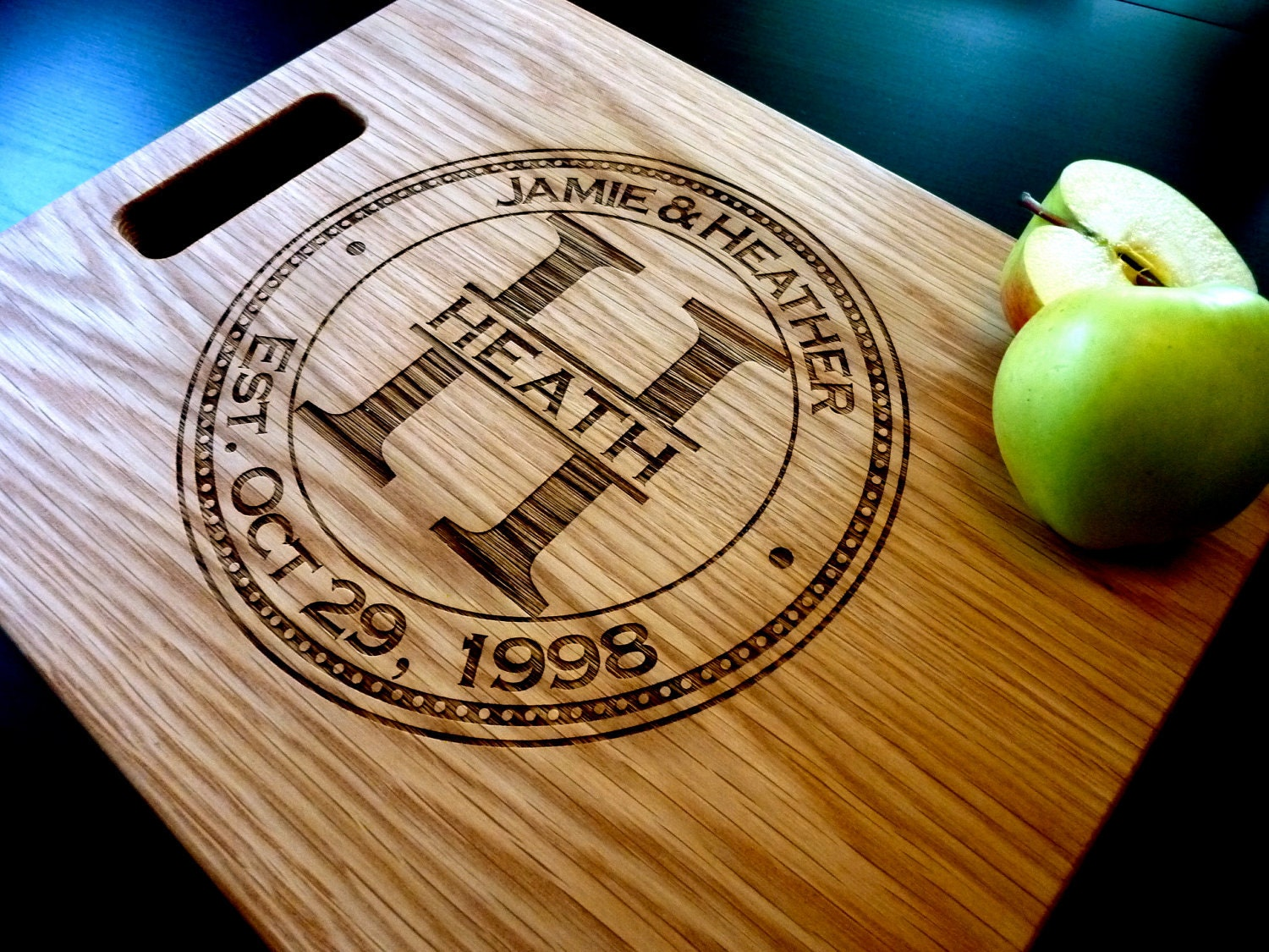 """Personalized Cutting Board, Custom Engraved - White Oak 12"""" x 15"""" - Personalized Wedding Gift, Anniversary Gift"""