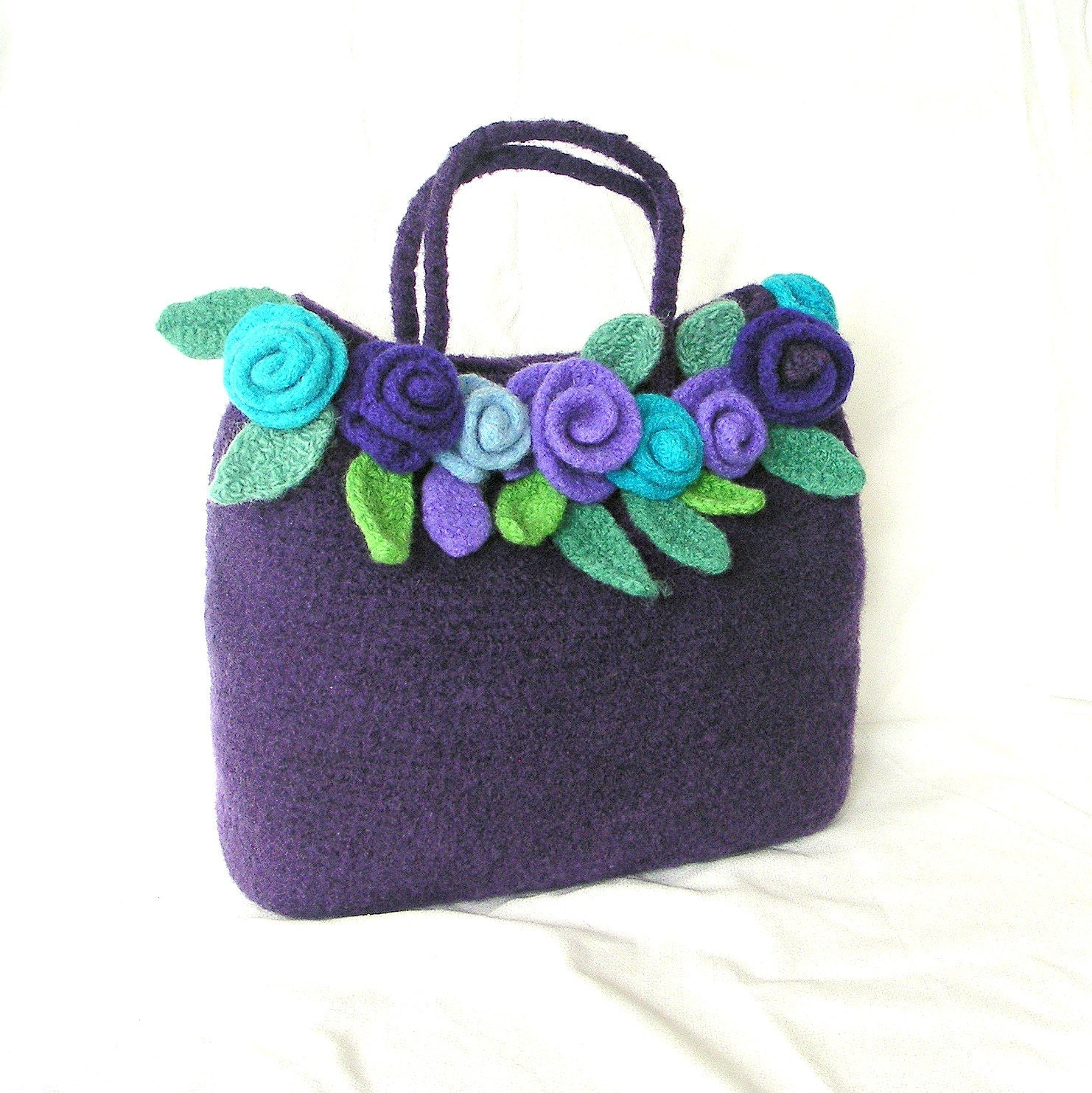 Crochet Bag Pattern Pdf : Pin Felt Rose Bag Crochet Pattern Tutorial Pdf Felted Flower on ...