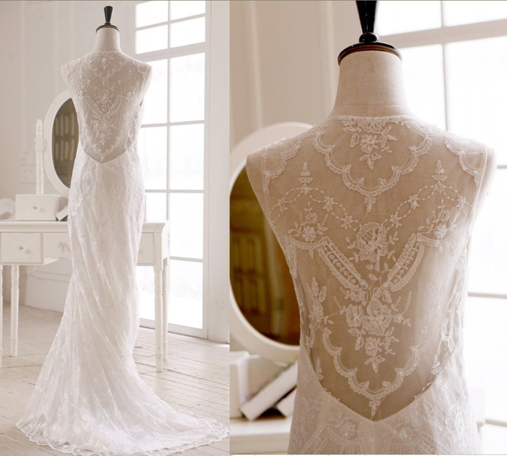 Claire Pettibone Inspired Lace Wedding Dress Open See through Back Mermaid Dress - avivaly