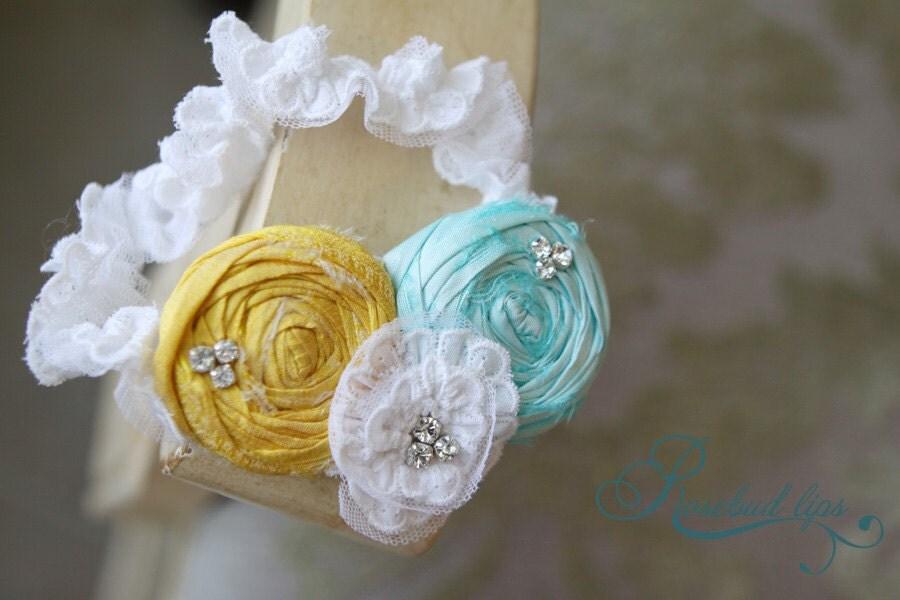 Sunshine Yellow and Turquoise Wedding Garter Wedding Accessory
