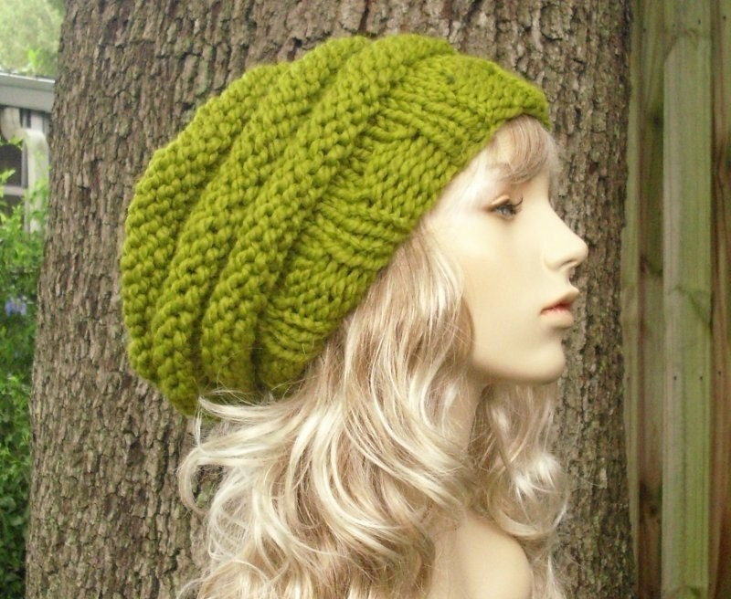 Hand Knit Hat Womens Hat - Oversized Beehive Beret Hat in Lemongrass - Winter Fashion Winter Accessories Chunky Knit