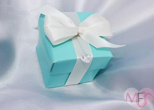 TIFFANY LOVE GLOSSY Wedding Favor box Turquoise w Swarovski Heart Charm