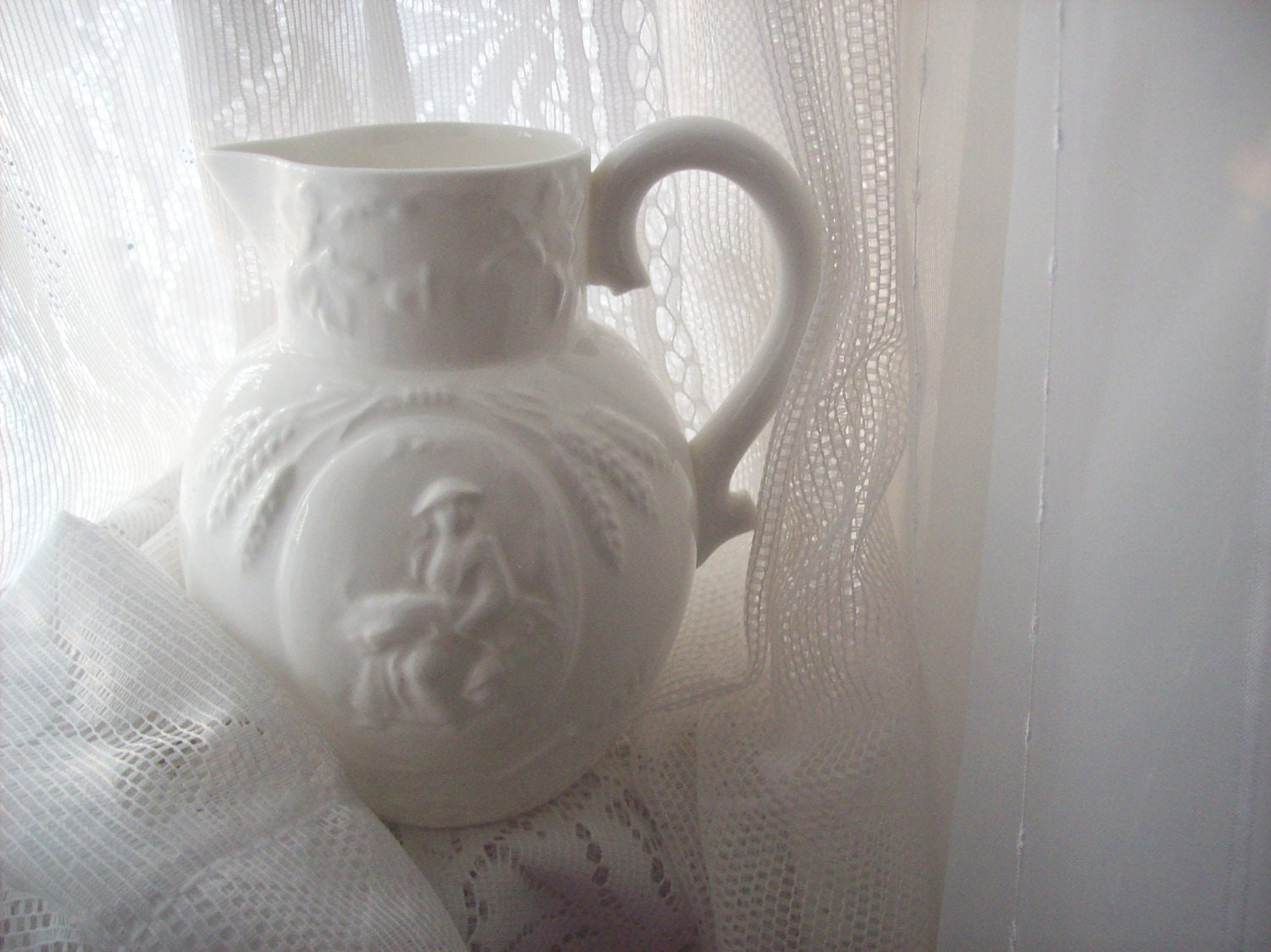 White Pitcher Minton Bone China Made in England Images of Hay and Wheat