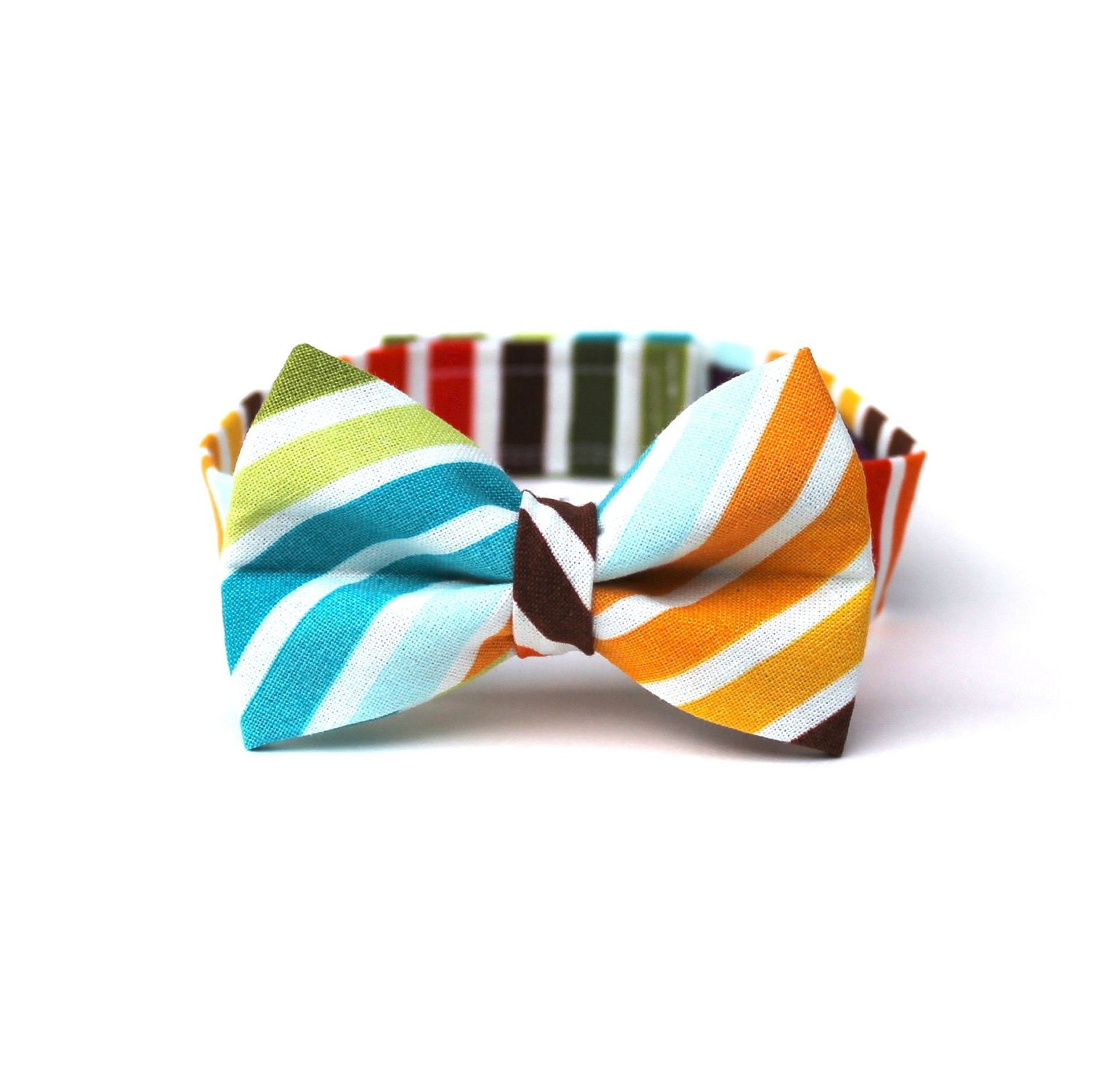 Baby Boy's Bow Tie - Multicolor Stripe - Brown Red Orange Yellow Green Blue White