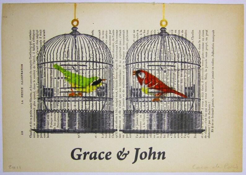 """Ваше имя любви с двумя птицами - ORIGINAL персонализированные ARTWORK Mixed Media, Ручная роспись на """"La Petit Иллюстрация"""" 1920 Parisien Magazine"""