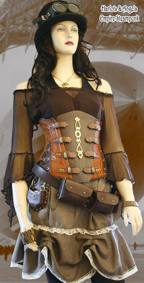 "25in Leather Steampunk ""Explorer"" underbust buckle Corset EXTANB08"