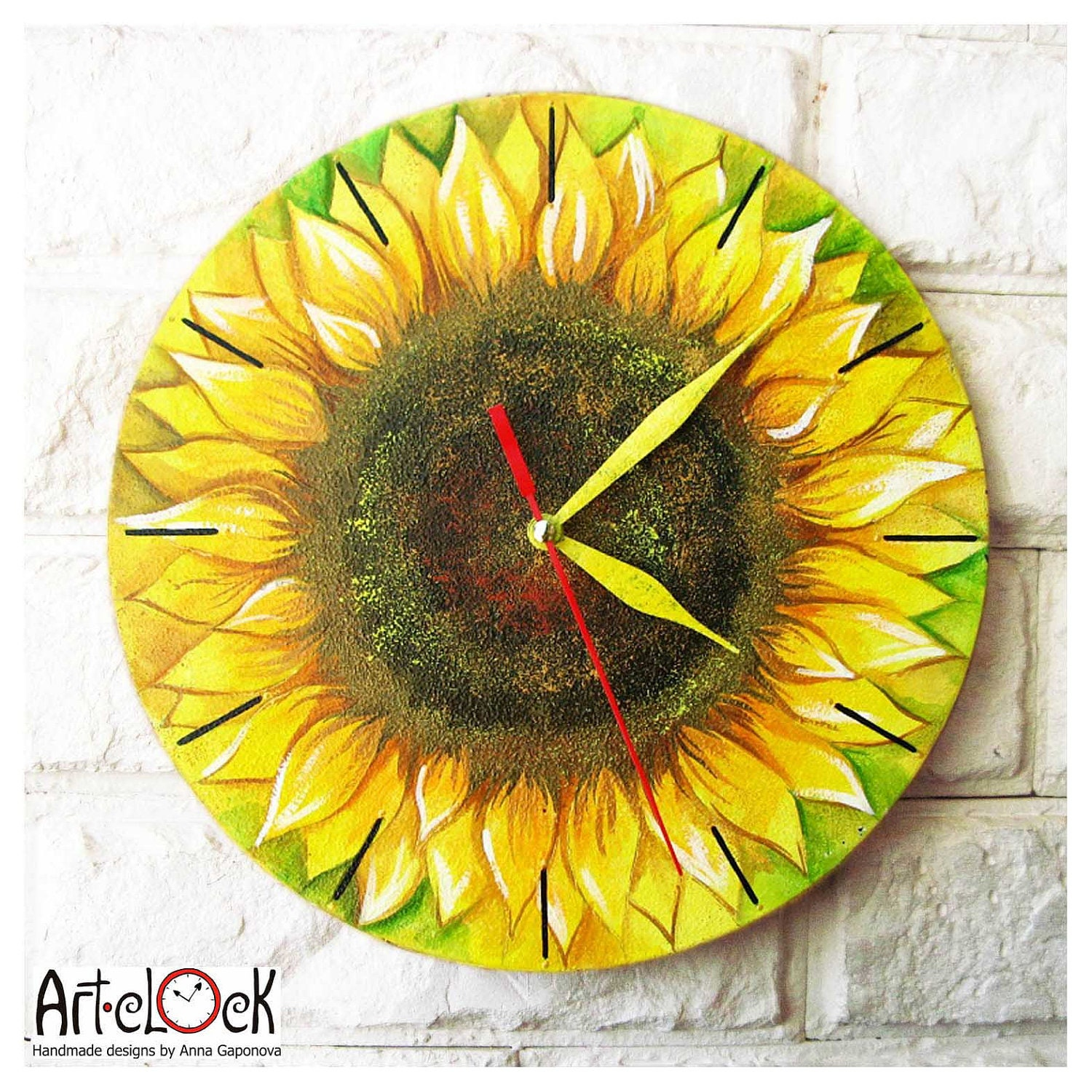 The Sunflower Wall Clock Home Decor by ArtClock on Etsy