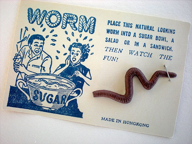 Realistic worm gag on original graphic card - thelovelyandstrange