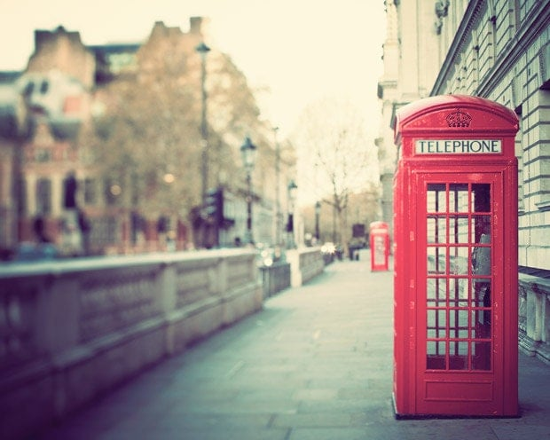 London Photography - Red Phone Box, Telephone Booth, Red, Green, City Street, Urban, Travel Photograph, Jubilee - Hanging on the Telephone - EyePoetryPhotography