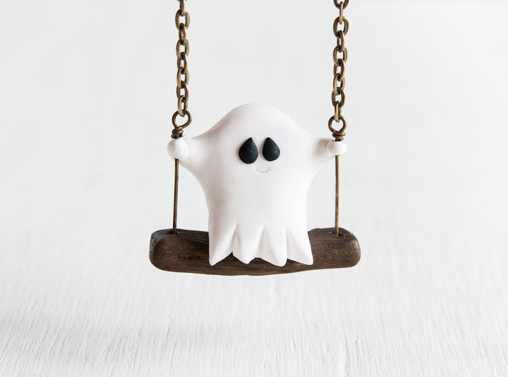 Ghost on a Swing - handmade clay ghost necklace with bronze chain/swing - littlelampsculpture