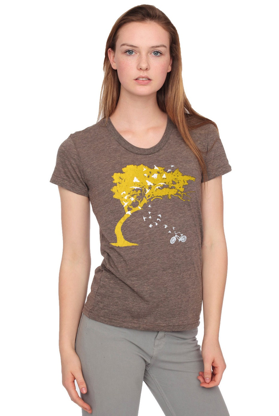 birds bicycle and tree- women's scoop track t shirt american apparel- coffee brown- available in S, M, L WorldWide Shipping
