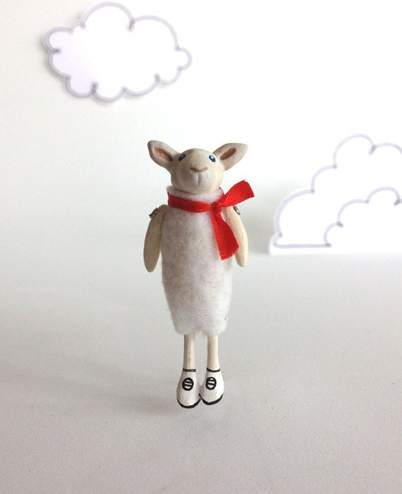 White Sheep with Red Bow, Handmade, One-Of-A-Kind Jewelry by Murmur Fremo - murmurfremo