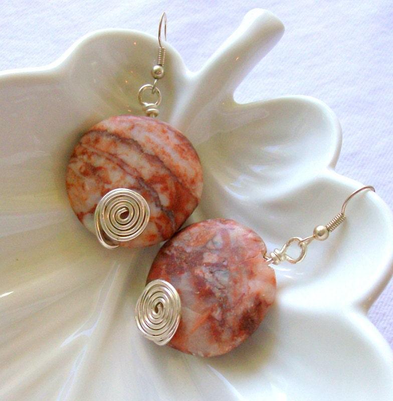 Autumn Orange Granite & Silver Earrings - Rustic - Chunky Jewelry - stoneandbone