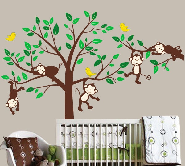 monkey wall decals kids animal stickers jungle by