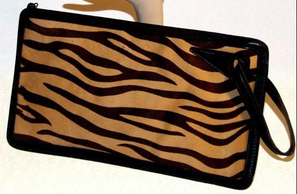 ZEBRA Animal Print Fur Clutch Designer Anne Klein - PearlyVintage