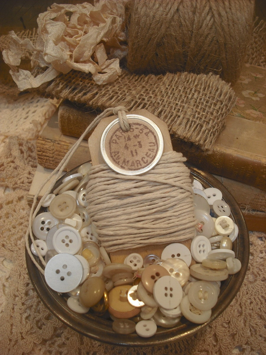 TWINE French Themed/10 Yards Raw Ivory Color Baker's Twine/Distessed Wooden tag/Paris Postmark