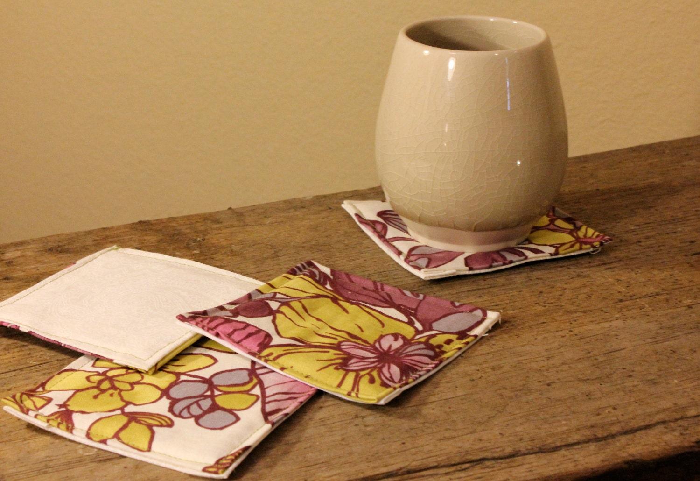 Purple Flower Coasters (Set of Four) - SparrowWaits