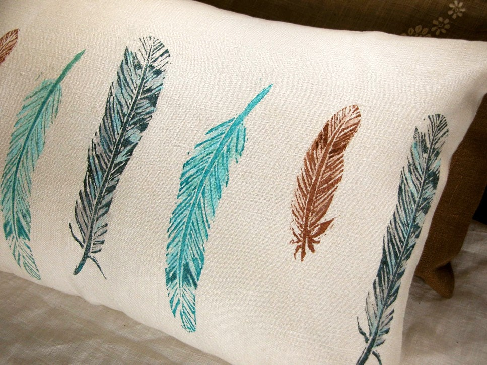 wild bird feathers lumbar pillow case