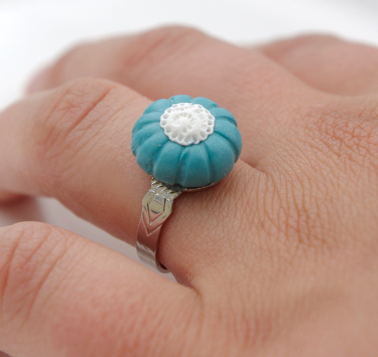 white lace and ocean blue polymer clay ring - fully adjustable - emsawhatsy