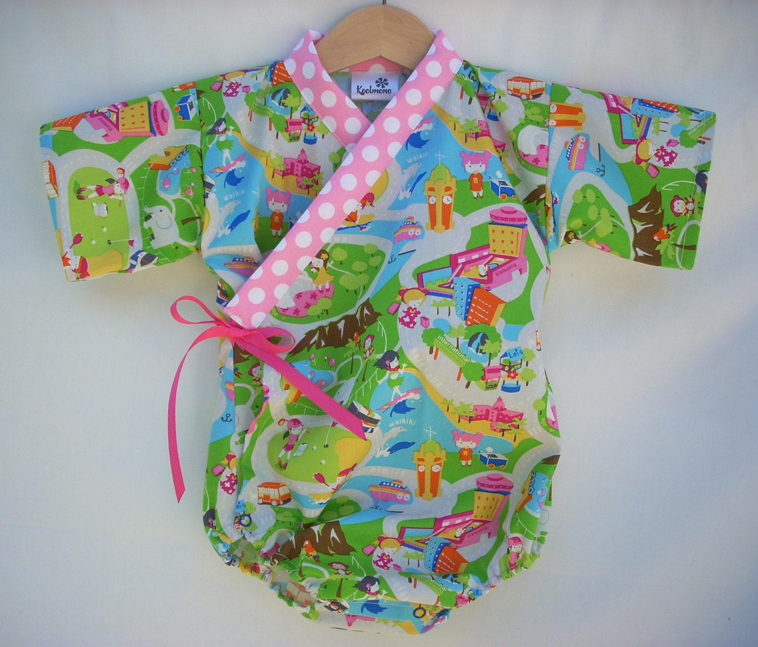 Kimono Onesie - HAWAIIAN KAWAII - sizes 0 through 24 months available - baby outfit girls