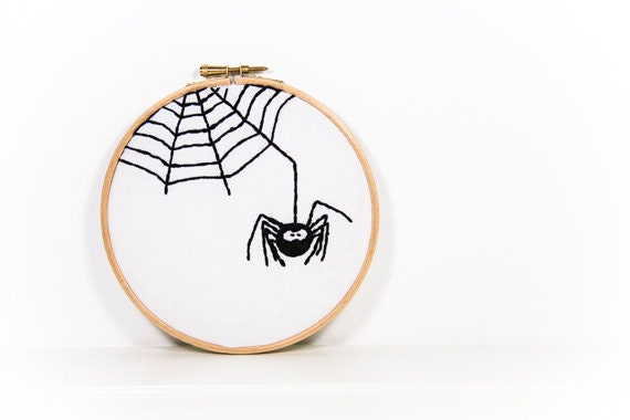 Halloween Spider Embroidery Hoop Art Spooky Spiderweb Black White - EggbertAndTurkey