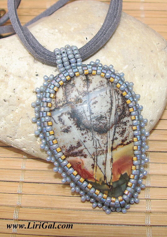 Grey Picasso Jasper Beaded Cabochon Pendant
