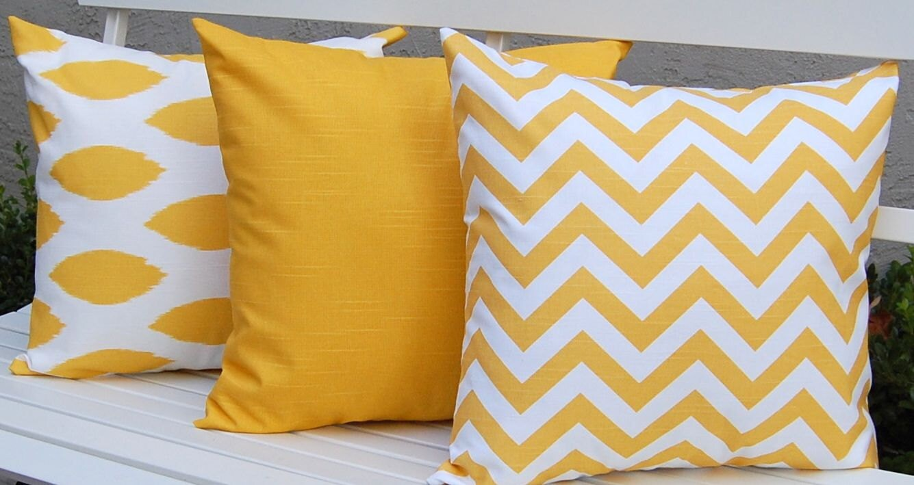 Yellow decorative pillows kids art decorating ideas for Designer accent pillows