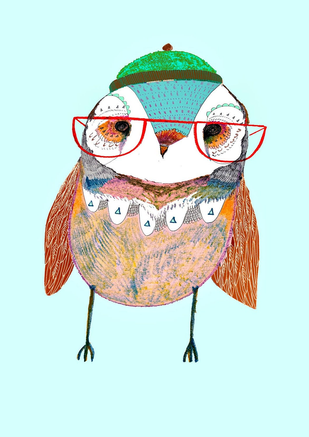 Kids Wall Art. The Cute Baby Owl. limited edition art print by Illustrator Ashley Percival.