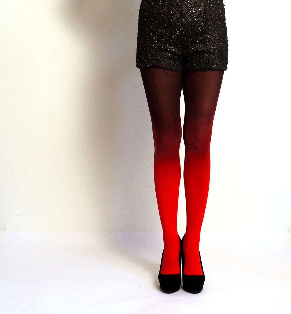 Ombre tights Fire Red and Black - hand dyed opaque tights.
