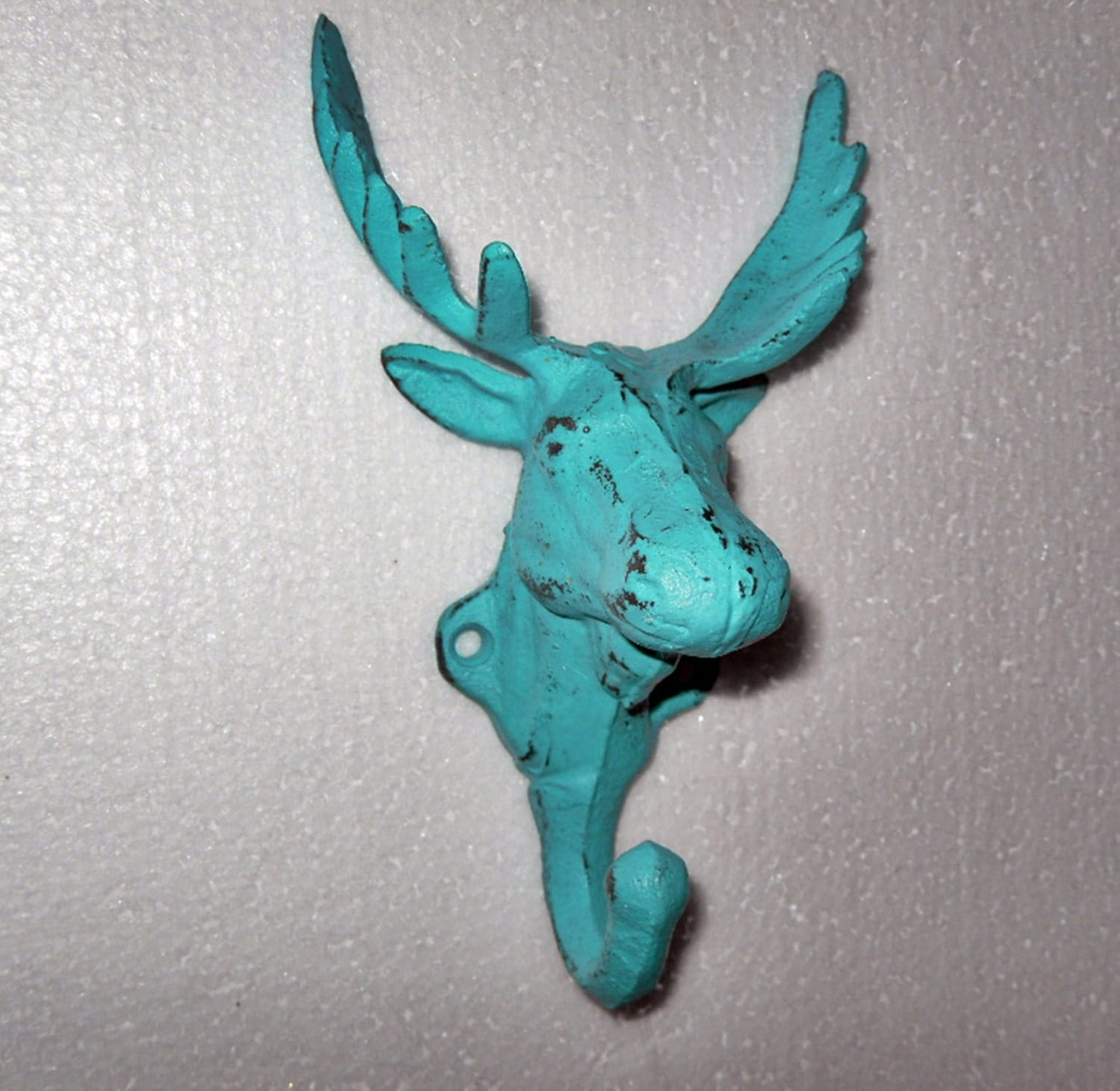 Aqua Moose Head / Aqua Wall Decor / Moose Hook / by Theshabbyshak