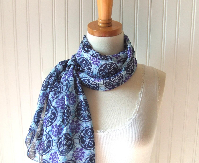 Tropical Batik Chiffon Scarf - Navy Blue, Lavender, Violet Sheer Summer Scarf - JANNYSGIRL