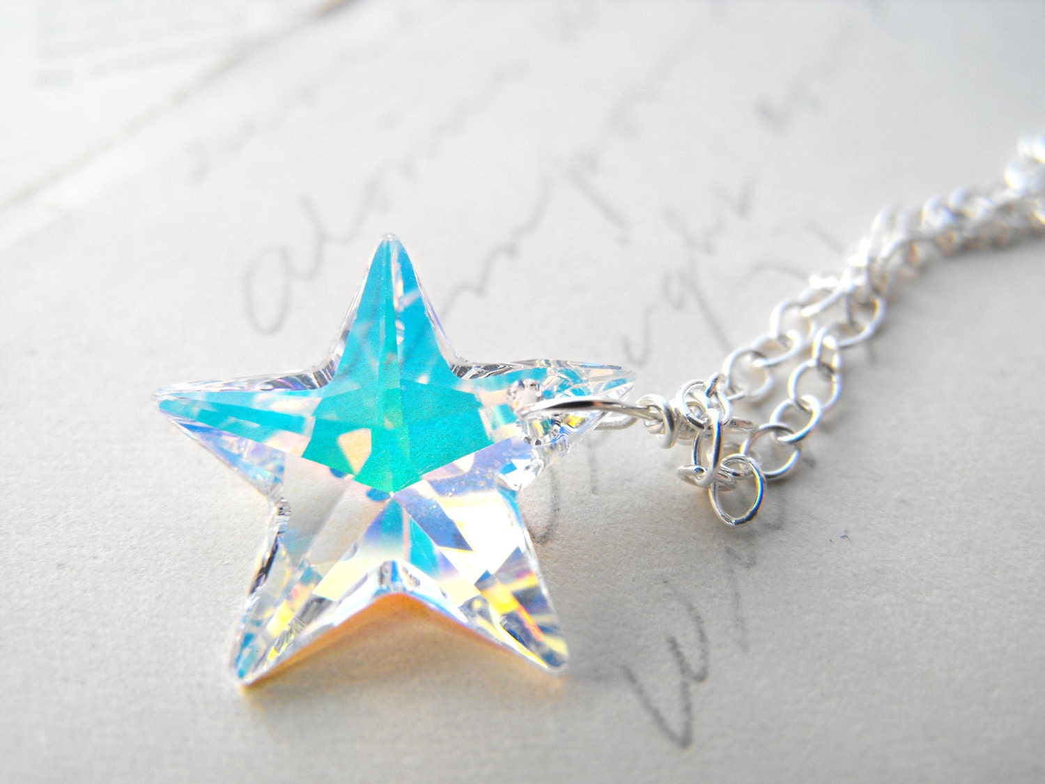 Star Necklace Ice Cold Frost Winter Sterling Silver Wire Wrapped Swarovski Crystal