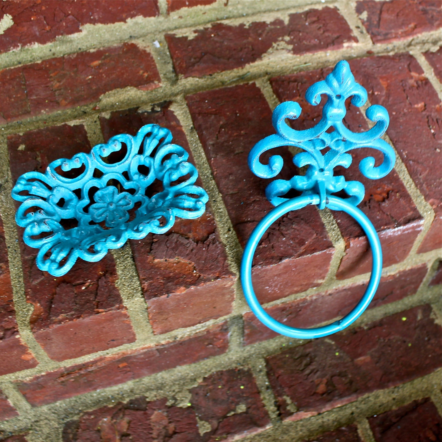 Turquoise Soap Dish/ Towel Ring/ Bright /Hand Painted Cast Iron/ Flower Design/ Bathroom, Kitchen Decor/ Decorative Shabby Chic - AquaXpressions