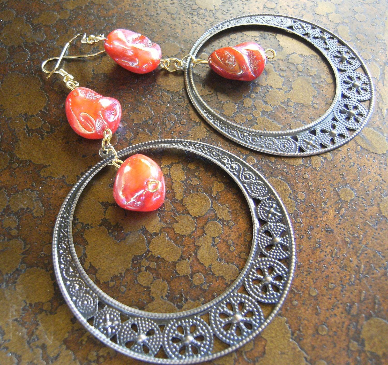 Mandarin Red Antique Brass Beaded Dangle earrings
