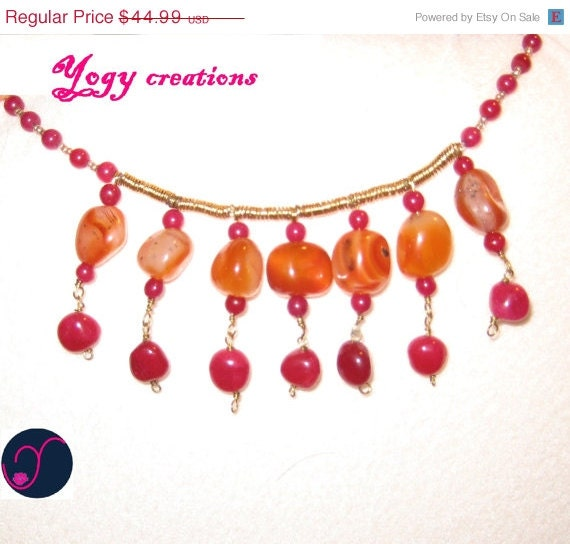 SALE 10% Off Orange agate pink aventurine choker gold copper necklace jewelry gift