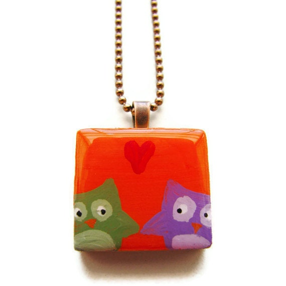 Owls in Love Painted Scrabble Necklace in Orange - Boy Meets Girl - heversonart