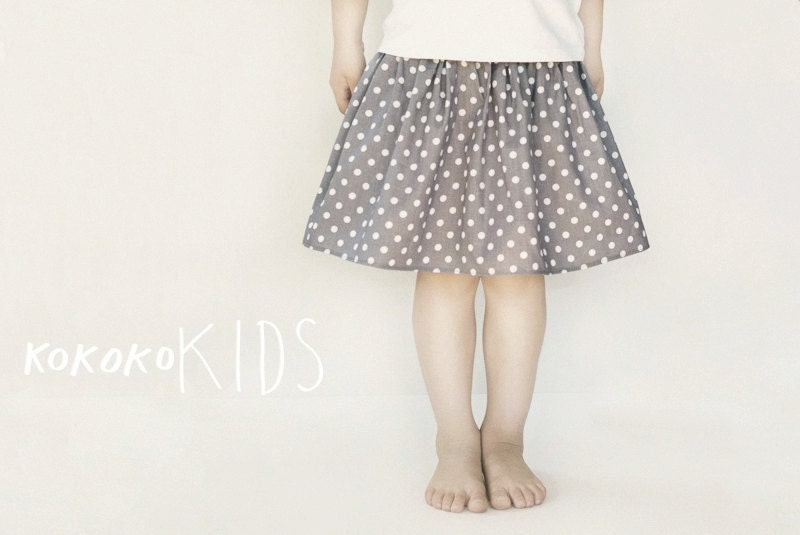 Polka dot skirt for girl. GRAY - kokokoshop