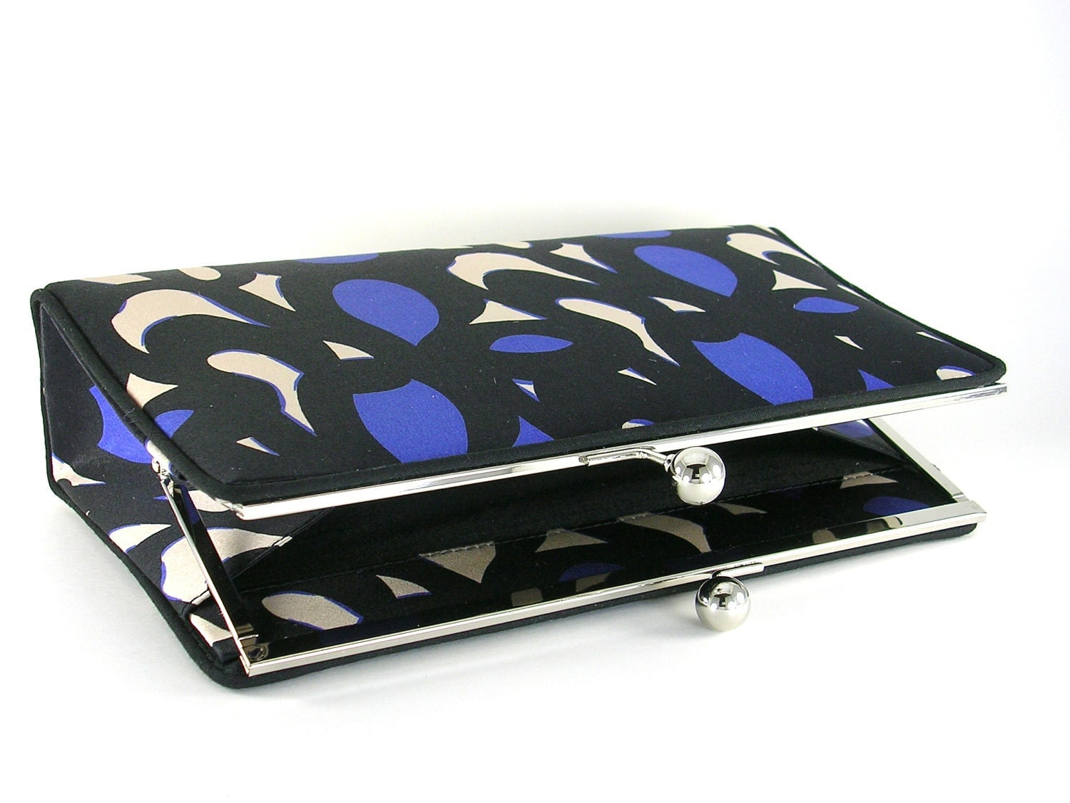 Blue, Black and White Silk Clutch Handbag