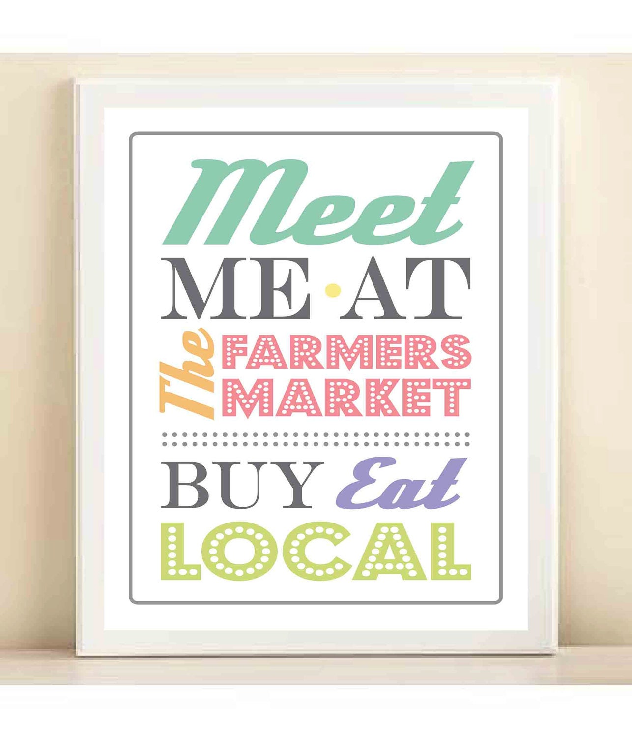 Colorful 'Meet Me at the Farmers Market' print poster