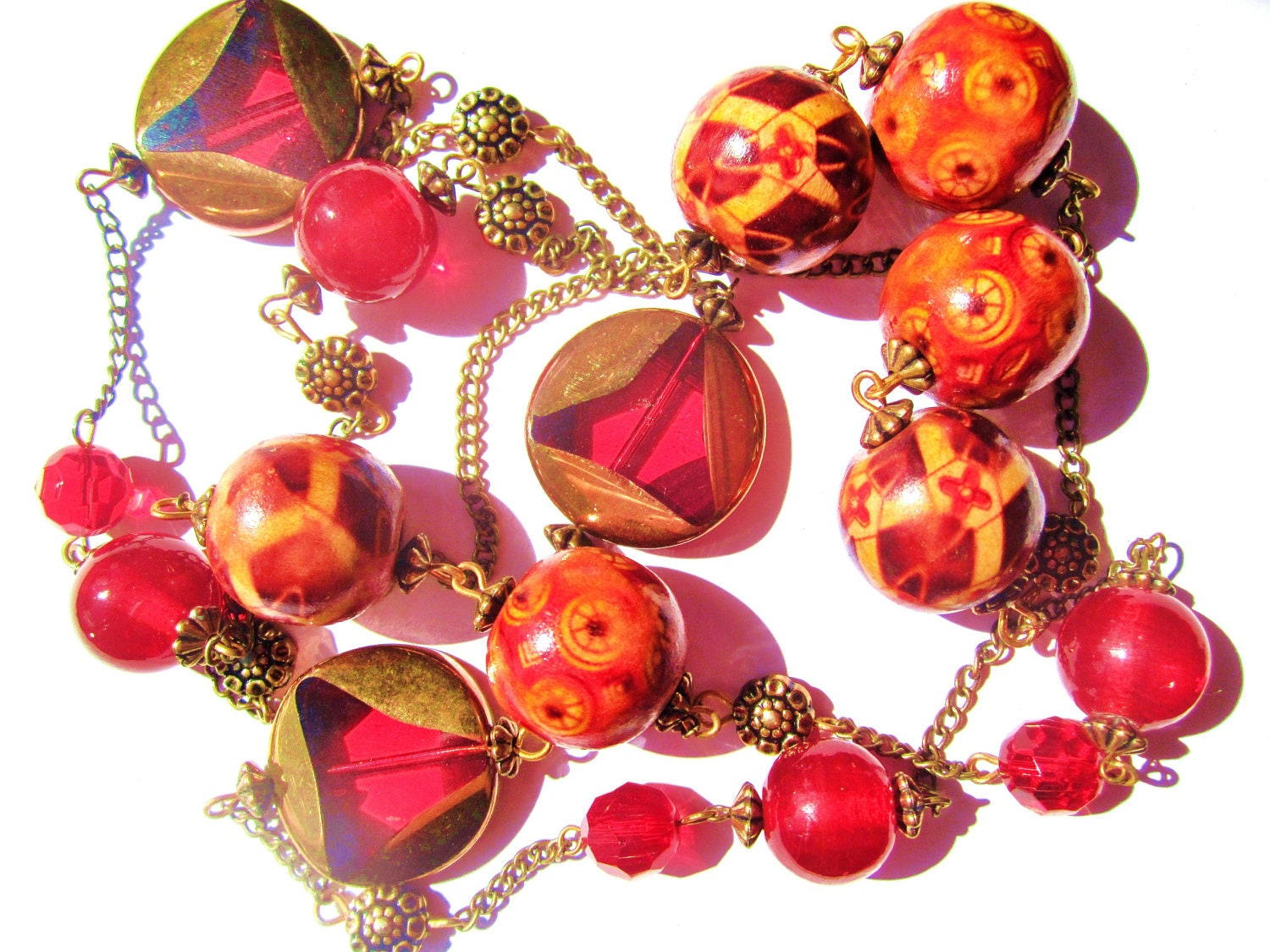 Long length glass red, gold, bronze and wood boho vintage necklace - BohochicJewellery