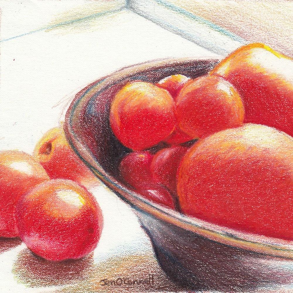 Bowl of Tomatoes-Original Colored Pencil Drawing - jensartshop