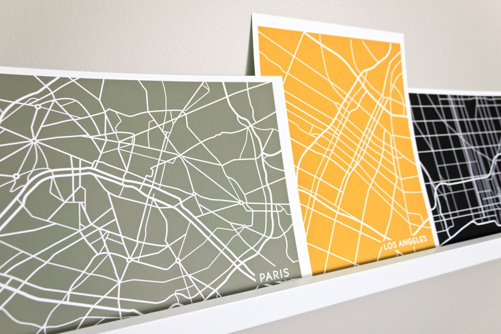 Custom City Map Art Print / Choose your City & Color / 8x10