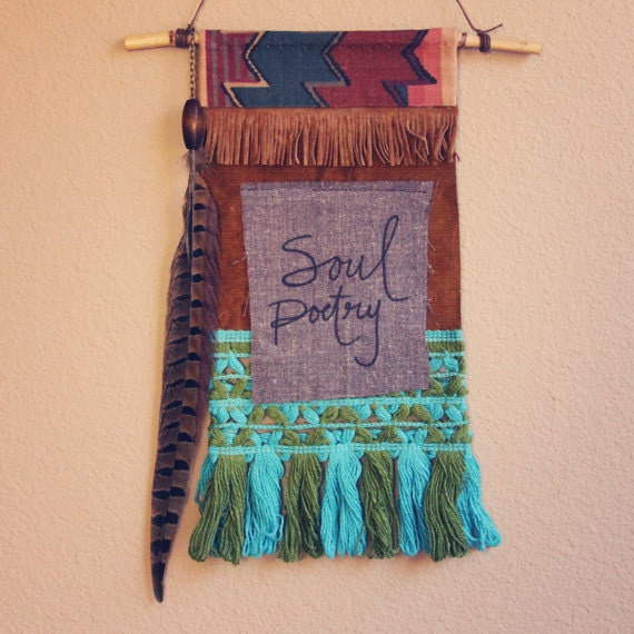 soul poetry.  bohemian textile prayer flag wall hanging.