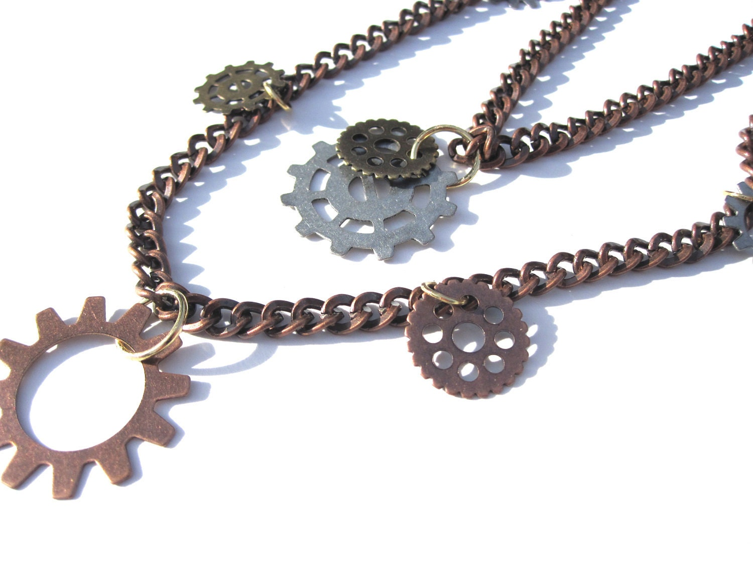 Industrial Gears Mixed Metal Necklace - Gold Copper Silver - Women's Gifts