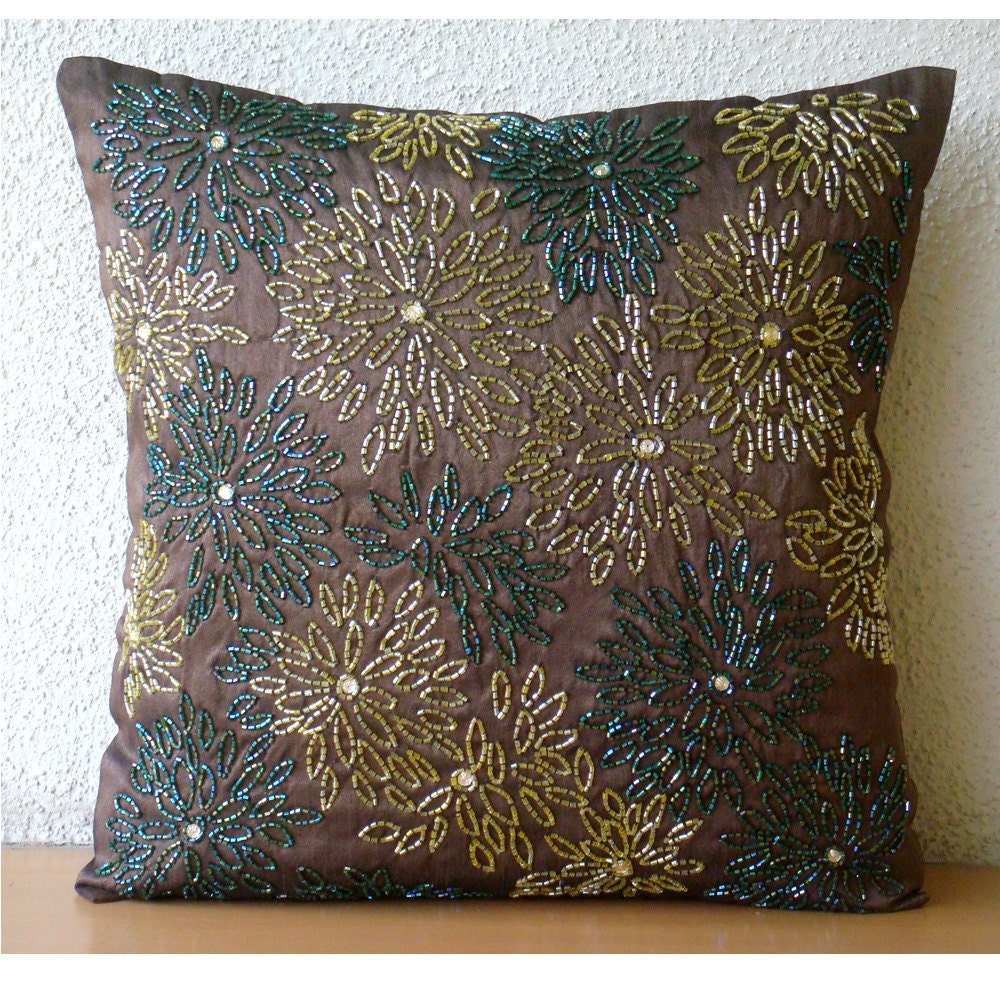 Цветочные Spark - Бросьте наволочки - 18х18 дюймов Шелковый Чехол с вышивкой пайетками