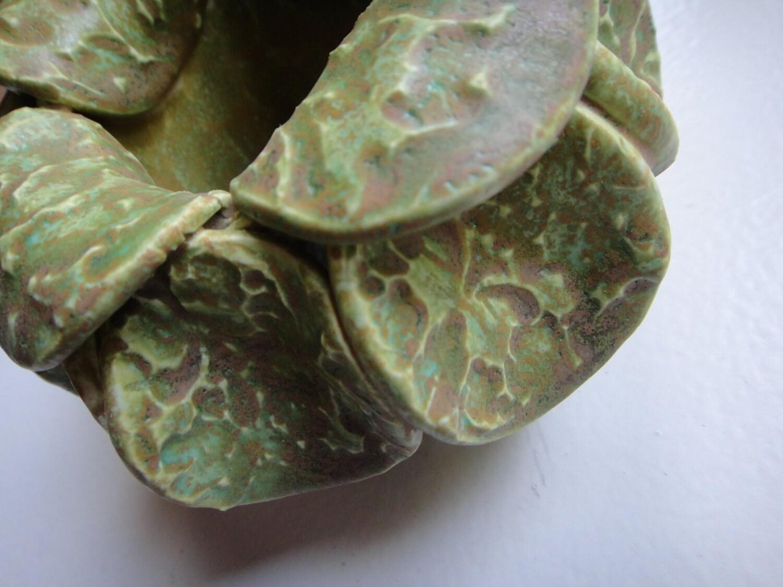 Handbuilt Green Ceramic Vase