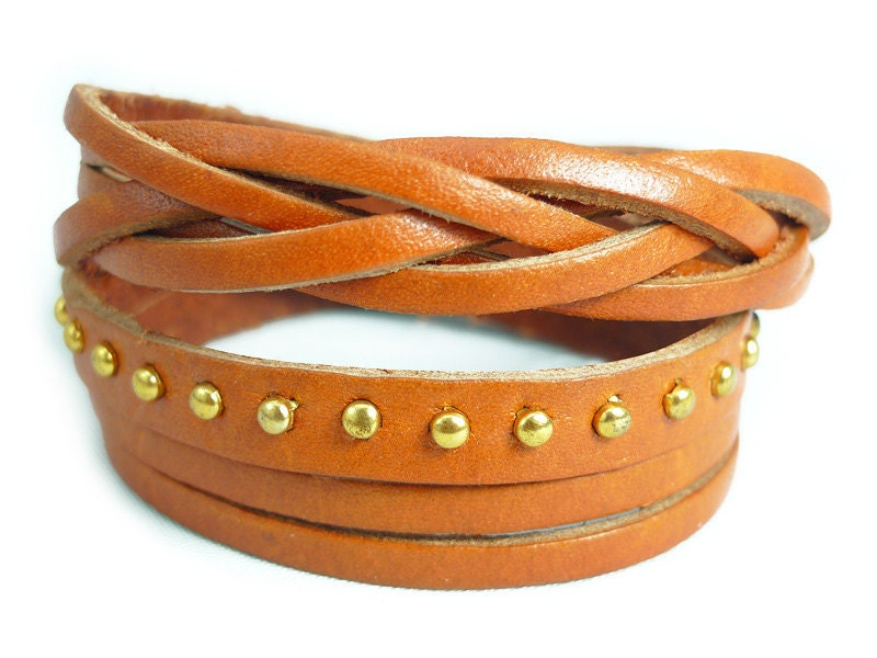 Fall Color Leather Gold Metal Rivets Braided Mixed Style Leather  Bracelet