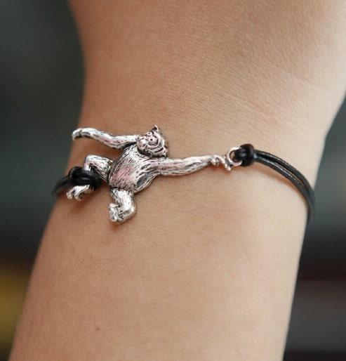 Black leather cord bracelet,charm silver orangutan bracelet