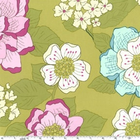 Green and Purple Floral Fabric, Secret Garden By Sandi Henderson for Michael Miller, Wallflower in Dusk, 1 Yard